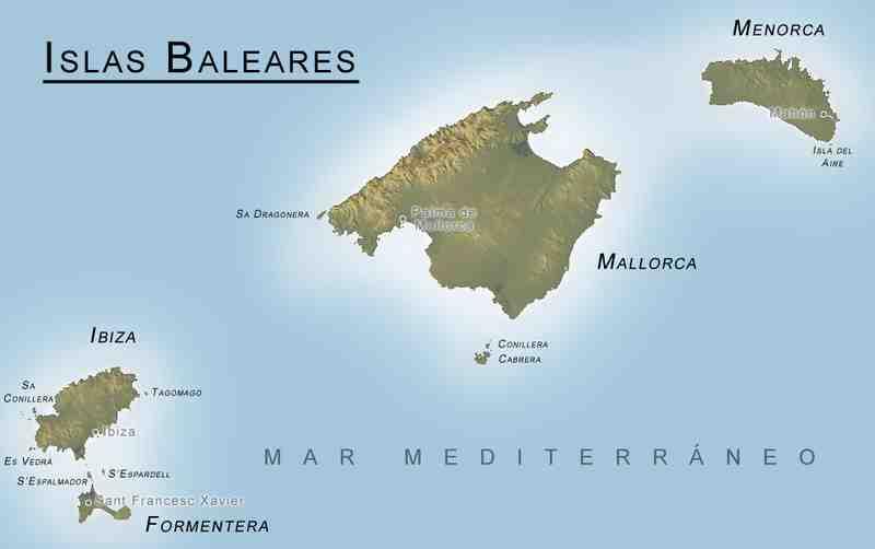 Les 5 îles principales des Baléares ?