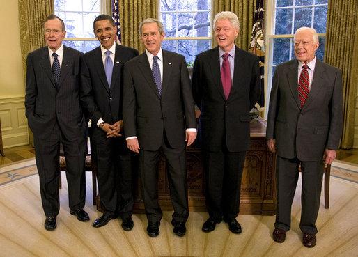 Les 5 présidents des Etats-Unis vivants en 2012 ?