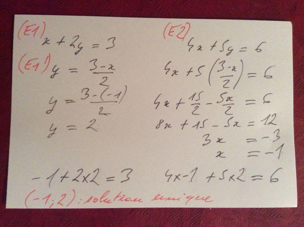 Résoudre un système de 2 équations à 2 inconnues du premier degré par substitution ?