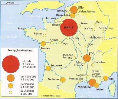 Les 10 principales aires urbaines françaises et leur population ?