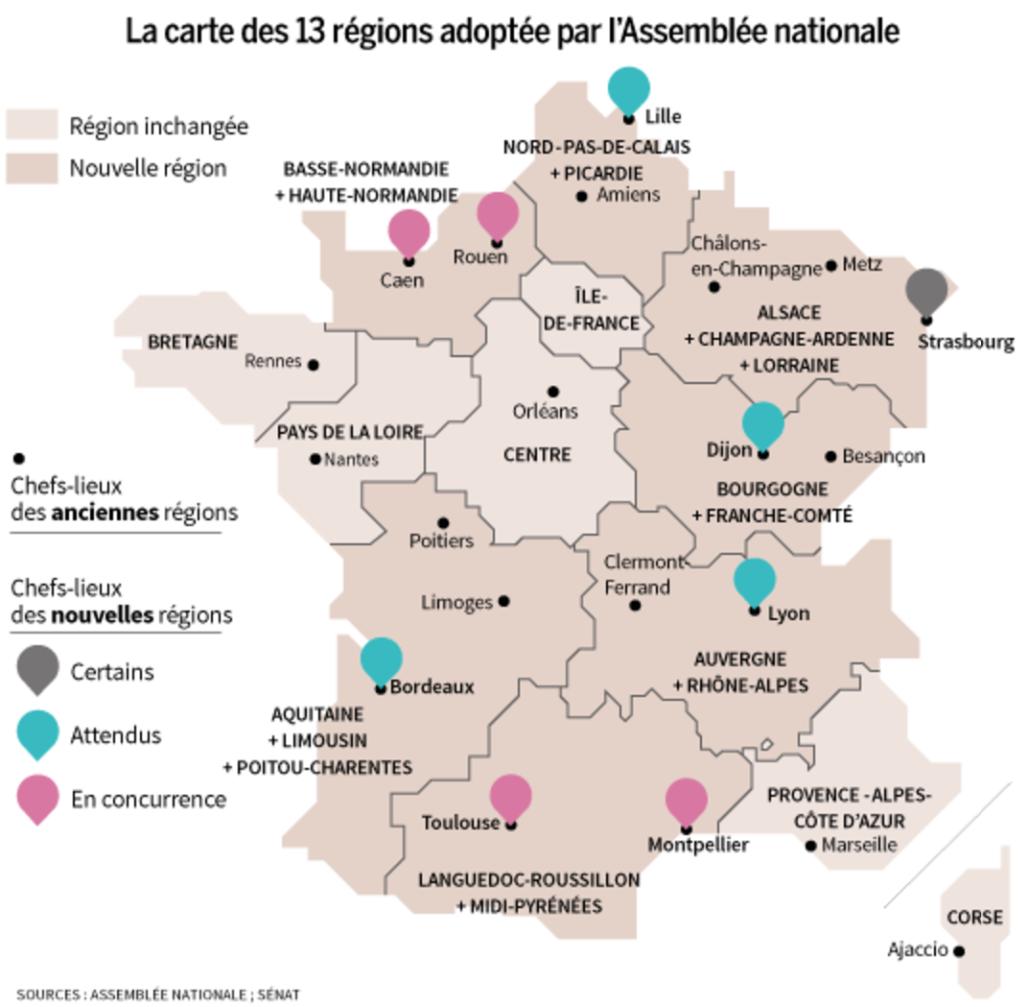 Les 13 régions de la France métropolitaine ?