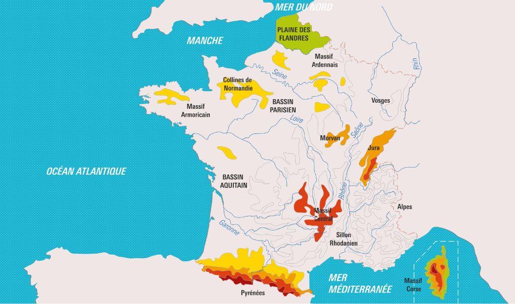 12 éléments du relief français ?