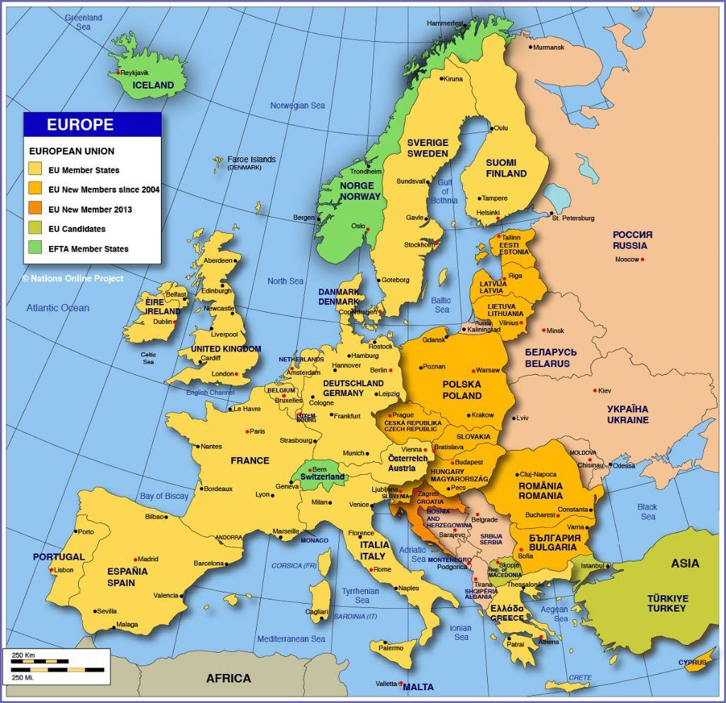 Les 28 capitales de l'Union européenne ?